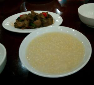 Millet Congee (小米粥) & Chilled Mushrooms (凉拌菇)